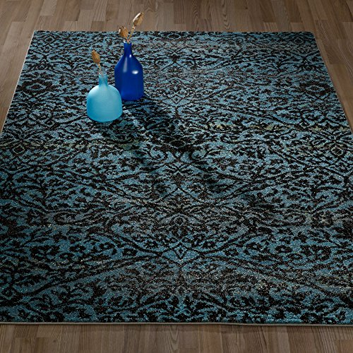 Ottomanson City Collection Contemporary Sculpted Effect Floral Damask Blue Black Area Rug - 5x7 (5'3