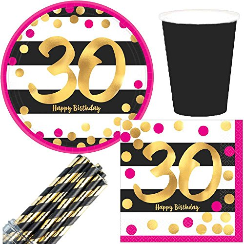 Pink & Gold 30th Birthday Party Supply Pack! Bundle Includes Paper Plates & Napkins for 16 -