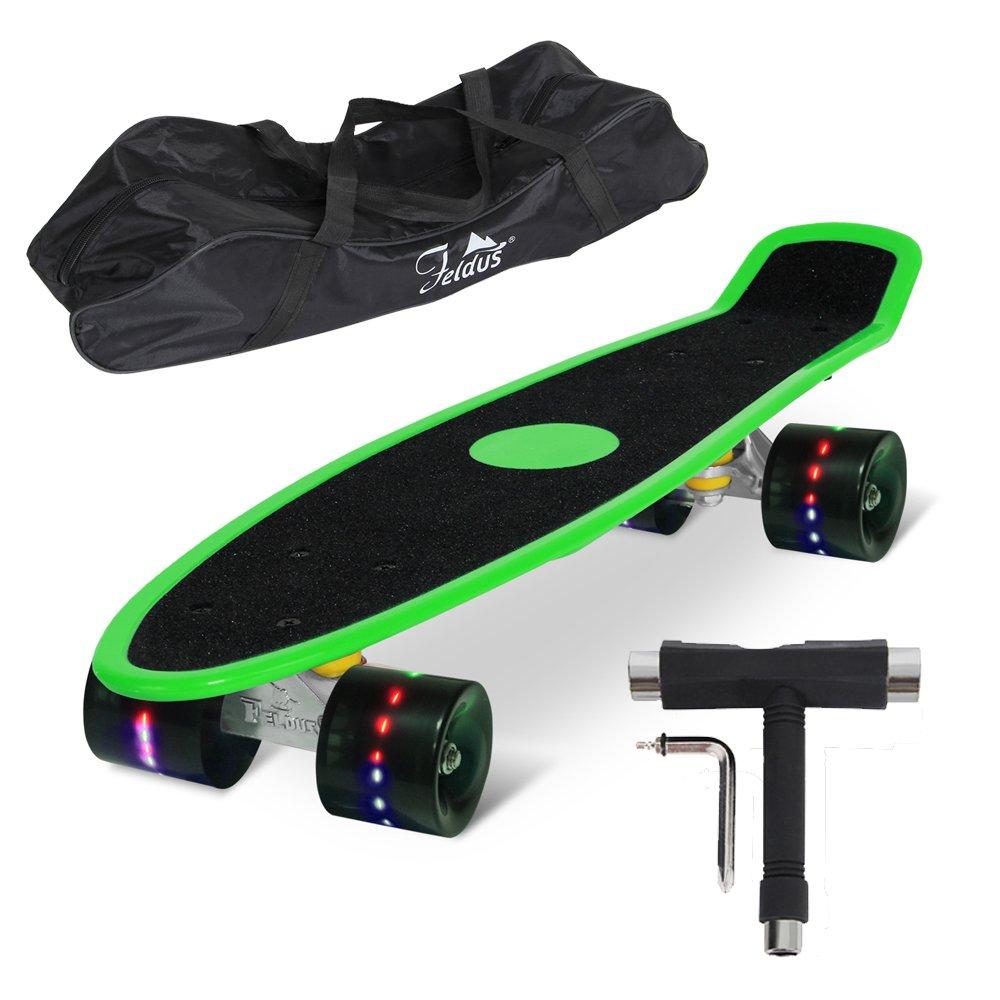 Feldus S15E 22 Retro Skateboard Komplett Fertig Montiert mit Tasche und T-Tool (Sandpapier Deck Grün/LED Räder in Schwarz), 55 x 14,5 x 19 cm Yorbay