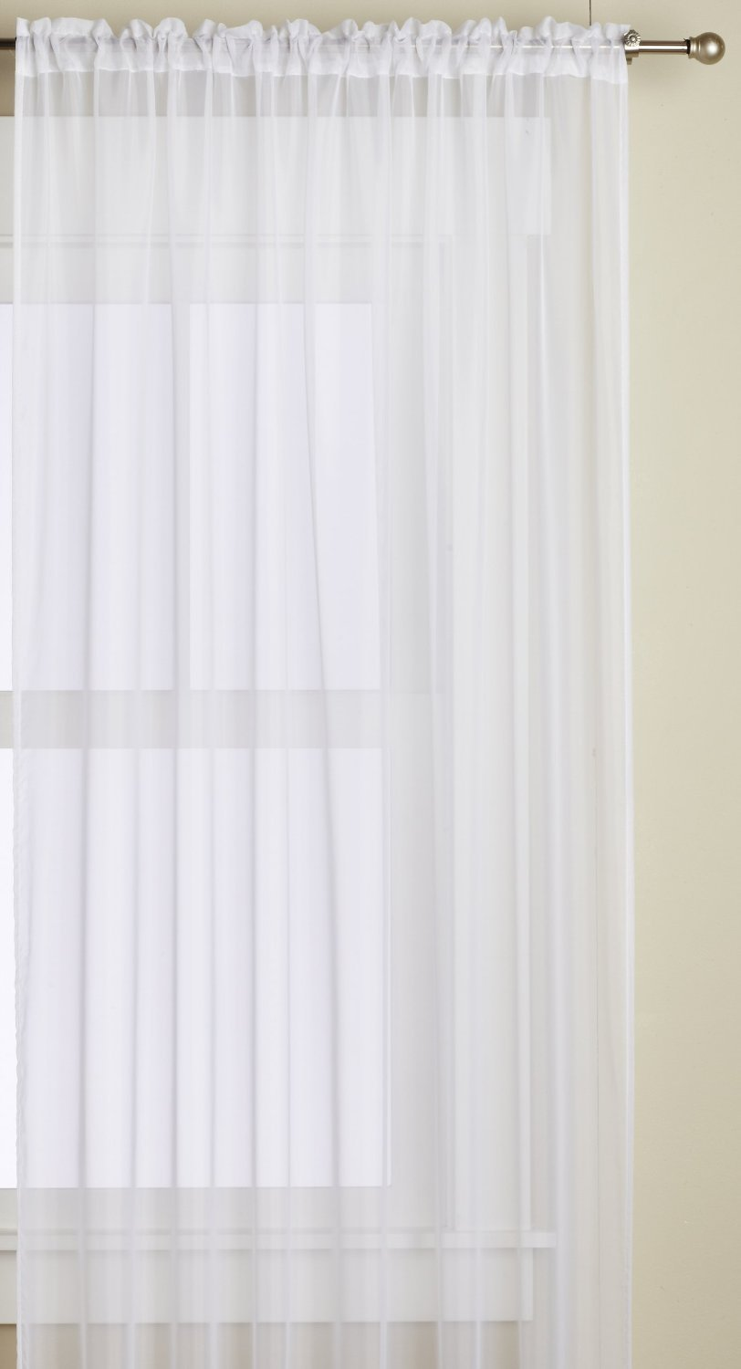 Editex Home Textiles Monique Sheer Window Panel, 55 by 63-Inch, White - Includes one panel 58-inch x 63-inch Fiber Content: Voile Care Instructions: Machine Washable, Tumble Dry Low - living-room-soft-furnishings, living-room, draperies-curtains-shades - 61nz0pJ0BrL -