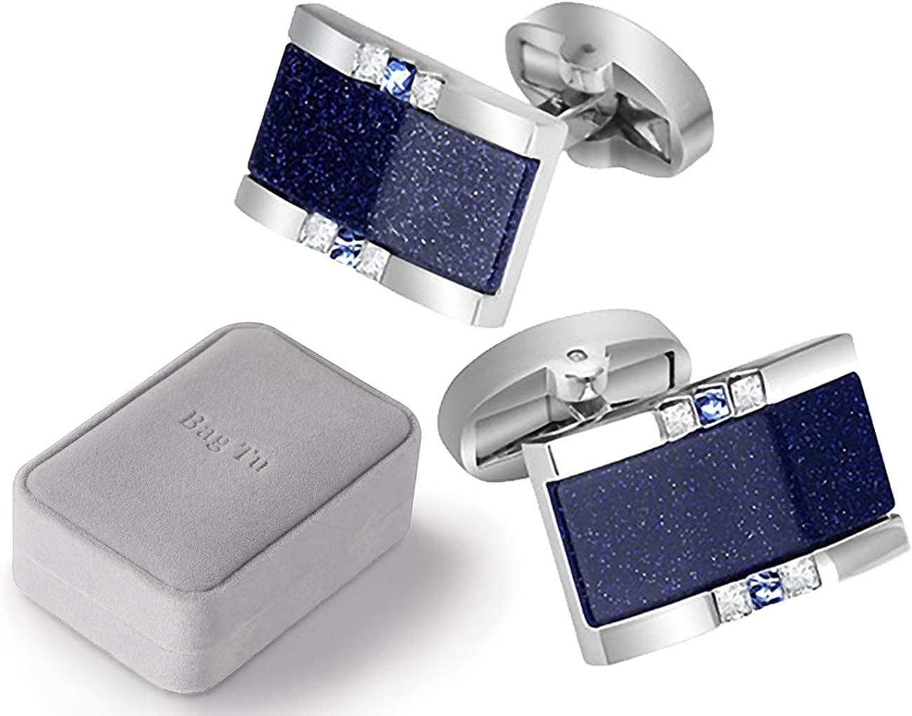 BagTu Starry Sky Cufflinks and Tie Clip Set with Gift Box and Greeting Card, Galaxy Dark Blue Cufflinks and Tie Clip Gift Set for Men