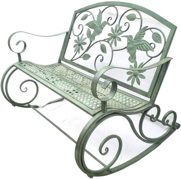 HYYTY-Y Silla Mecedora Doble de Hierro Forjado para Exteriores, Respaldo levantado, jardín reclinable, reclinable - Verde 624-YY