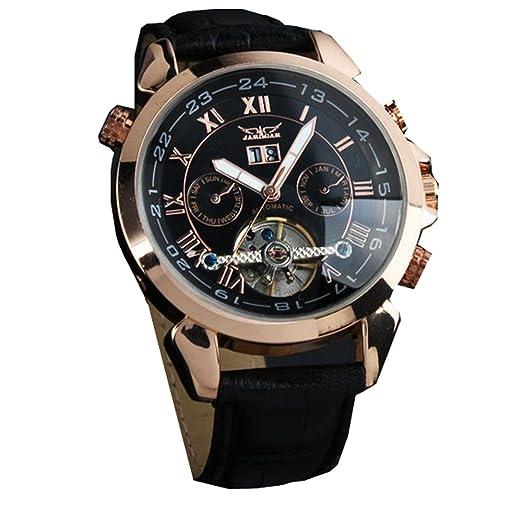 ufengke® movimiento reloj de pulsera muñeca antiguos números romanos elegantes mecánico automático calendario de la correa para los hombres,negro: ...