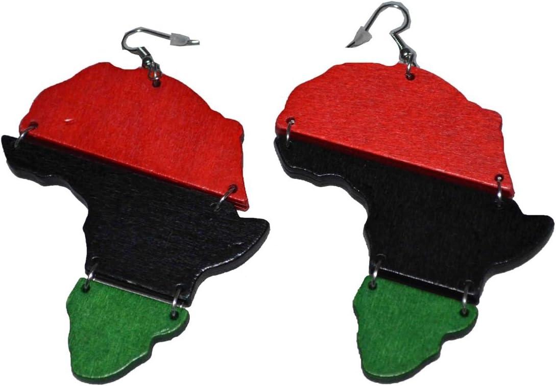 MM de la mujer rojo negro y verde Panafricano bandera aro pendientes de madera con colgantes en color plateado 4 cm de largo: Amazon.es: Deportes y aire libre