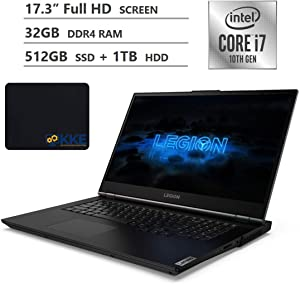 "Lenovo Legion 5i Gaming Laptop, 17.3"" Full HD IPS Screen, 10th Gen Intel Core i7-10750H Processor, NVIDIA GeForce GTX 1650 Ti, 32GB RAM, 512GB SSD + 1TB HDD, Backlit Keyboard, Windows 10, KKE Mousepad"