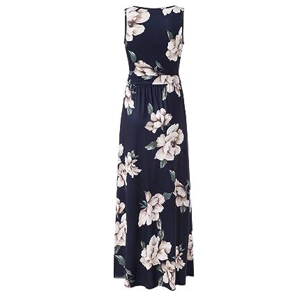 e7118cc407db ... Navy Zattcas Womens V Neck Sleeveless Maxi Dress Casual Empire Floral  Maxi Dress (Small, ...