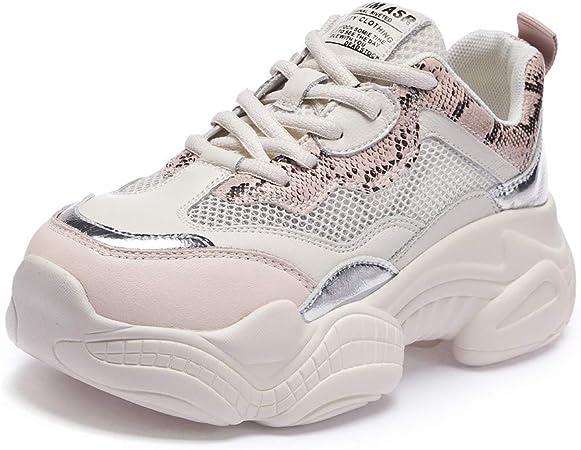 Willsky Zapatillas de Running para Mujer, Zapatillas Deportivas Zapatillas de Deporte Ligeras para Caminar Chunky Absorción de Choque Malla Jogging Informal,Pink,36: Amazon.es: Hogar