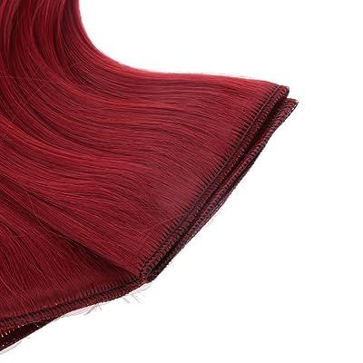 15x100cm Poupée Perruque Cheveux Postiches DIY Décor pour 1/3 1/4 BJD SD Dolls - Vin Rouge