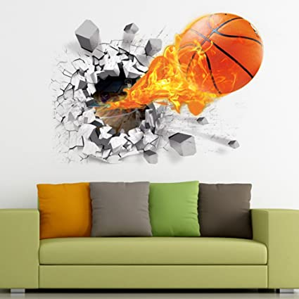 3D Basketball Wall Sticker Decal Living Room Bedroom Decor For Men Teenager  Boy Kid Children Baby