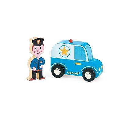 Janod - Story Set City, coche de policía y policía de madera (J08564): Juguetes y juegos