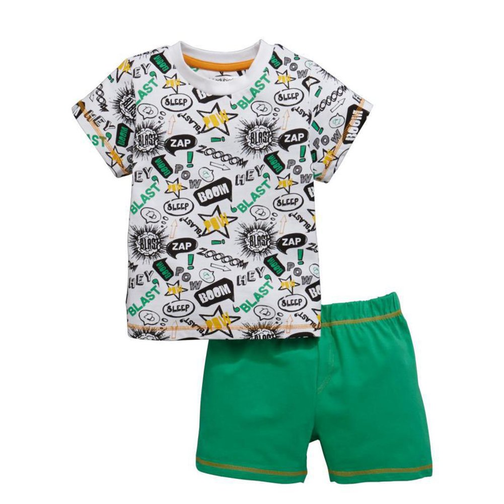Motteecity Fashion Boys Cozy Cartoon Doodle Print Casual T-Shirt and Pants Set