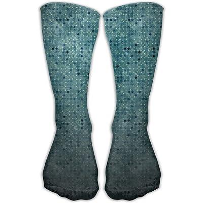 Kjaoi Crew Socks Blue Tiles Pattern Sock Protect The Wrist For Cycling Moisture Control Elastic Socks 11.8inch