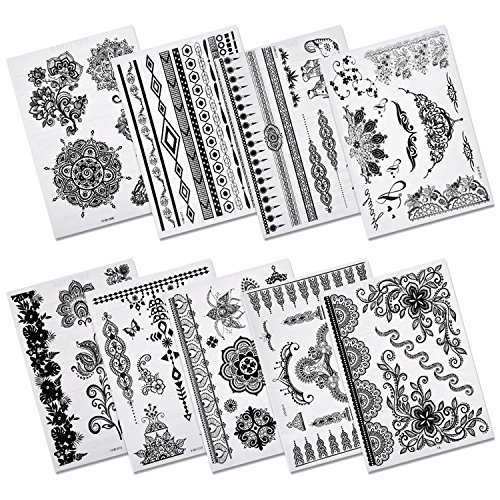 Aboat Pack of 9 Sheets Henna Temporary Tattoo Black Body Art -
