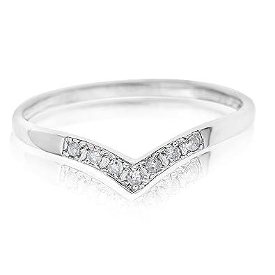 Ornami Glamour 9ct White Gold Diamond Wishbone Ring Amazoncouk