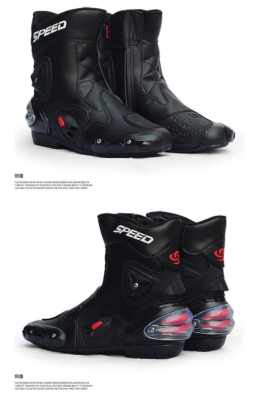 ZZKK Botas de Motos de Cuero Impermeables Botas de Carreras de Motos de Carreras Profesionales Botas de Motos Todoterreno