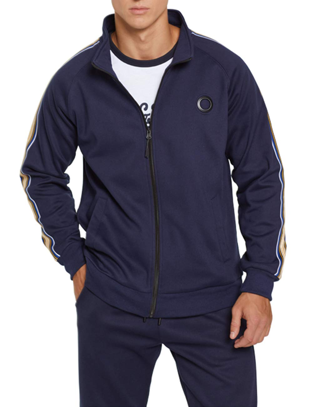 Men's Sports Casual Tracksuit Set Long Sleeve Running Jogging Sweat Suits, Blue-2XL by DUOFIER