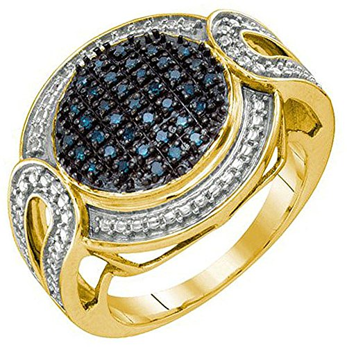 0.24 Carat (ctw) 18K Yellow Gold Plated Sterling Silver Blue Diamond Ladies Micro Pave Ring 0.24 Ct Pave Diamond