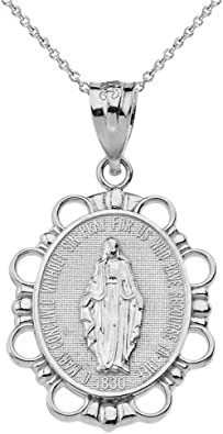 19mm x 12mm Solid 925 Sterling Silver Miraculous Mary Heart Pendant Charm Medal