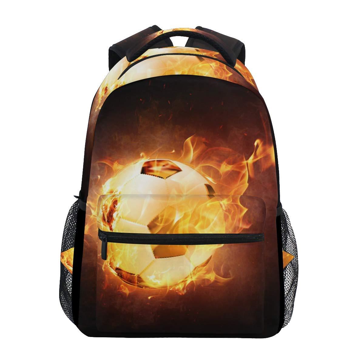 ファッションスクールバックパック ガールズ ボーイズ カジュアルデイパック 旅行カレッジ ブックバッグ レディース&メンズ フットボール 火と水の上 炎の飛沫 雷 プリント スクールバッグ B07L3S9FSG Multicoloured 5