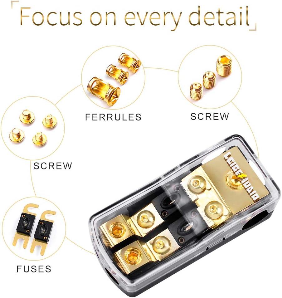 LEIGESAUDIO Copper 0//4 Gauge to 4//8 Gauge 100 Amp Mini ANL 2 Way Fuse Holder Distribution Block