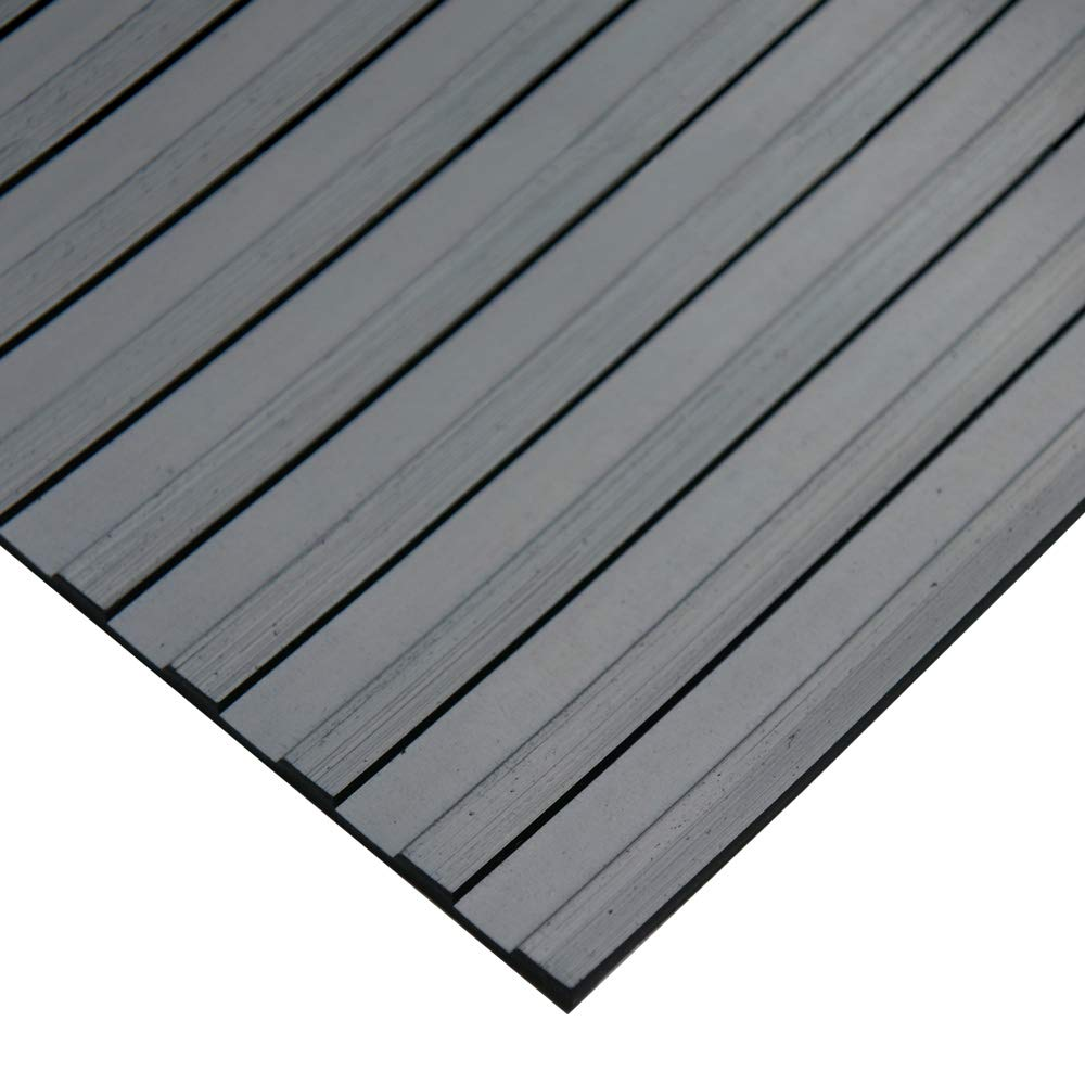 ''Wide Rib'' Rubber Flooring Mat - 1/8'' Thick x 4ft x 10ft - Black Runner Mats by Rubber-Cal
