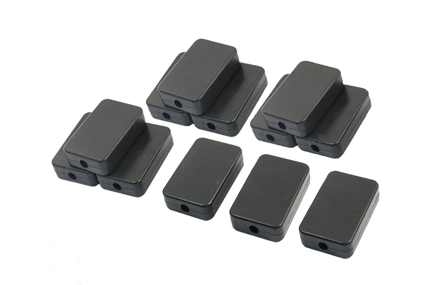 YXQ 55x35x15mm Junction Box w Hole Cover Small Waterproof Electric Project Case Black Plastic 12 Pack