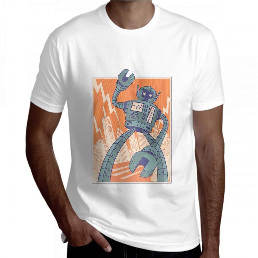 Yuejh Tees Men Robot Illustration Typography Vectors Short Sleeve Tee Men