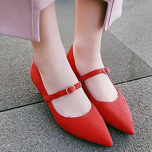 alla Cinturino Aiyoumei velluto Donna in Rosso caviglia 8wdwCBq4x