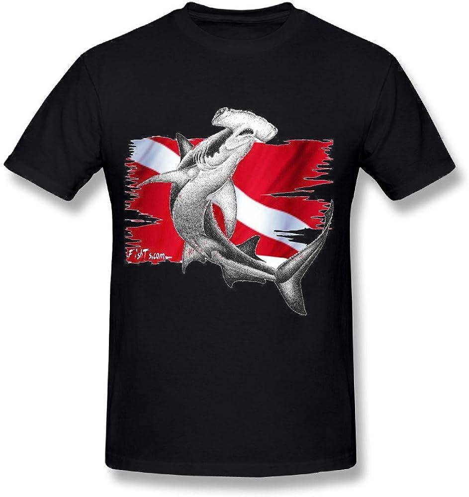 Dive Flag Hammerhead Shark Diver Boy Black Short Sleeve Tees