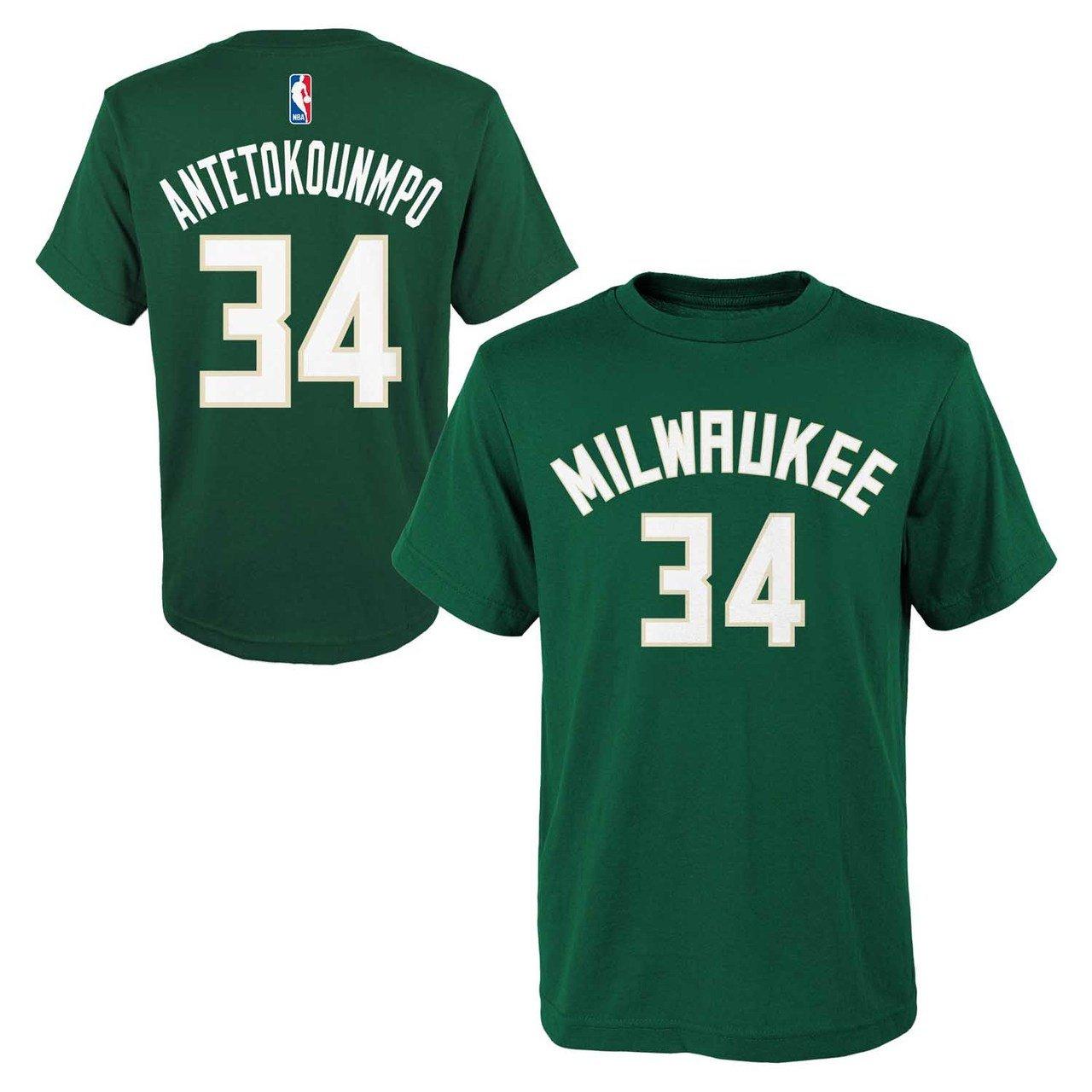 Giannis Antetokounmpo Milwaukee Bucks #34 NBA Youth Player Name & Number T- Shirt,