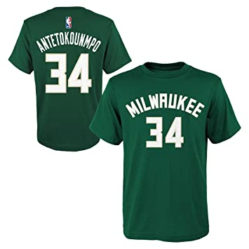 official photos 9fc78 5ed7f Giannis Antetokounmpo Milwaukee Bucks #34 NBA Youth Player Name & Number  T-Shirt, Green