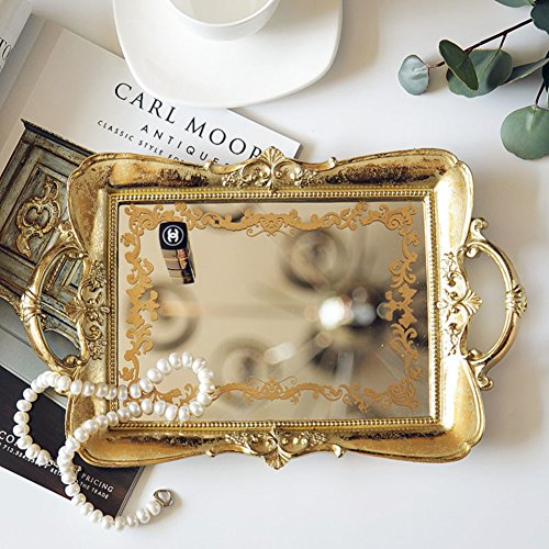 Classical Vanity (AMYDREAMSTORE Vintage Mirrored Jewelry Tray,Non-Slip Pattern Jewelry Holder Storage Box European Classical Home Decoration Accessories Desktop Golden Tray-C)