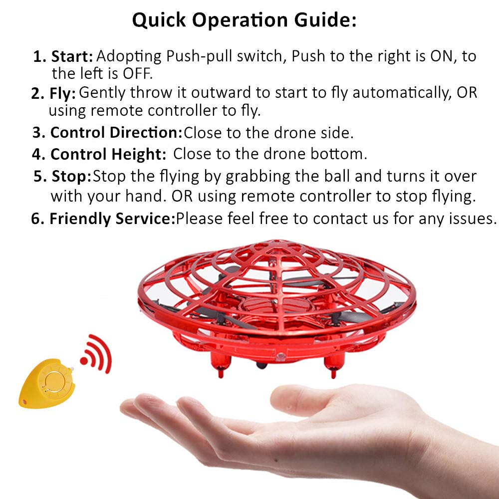 CPSYUB Hand Operated Drones for Kids or Adults, Toys for 4-5 Year Old Boys, Hands Free Kids Drone Toys for 3, 4, 5, 6, 7, 8, 9 Year Old Boys and Girls, Flying Ball Drone for Kids Toys Gift (Red) by CPSYUB (Image #7)