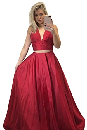 Dressylady Two Piece Halter Backless Satin Long Juniors Prom Dress Elegant Evening Gowns Red 2