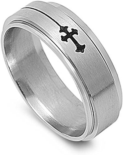 Mens 8 mm Celtic Cross Spinner Band Stainless Steel