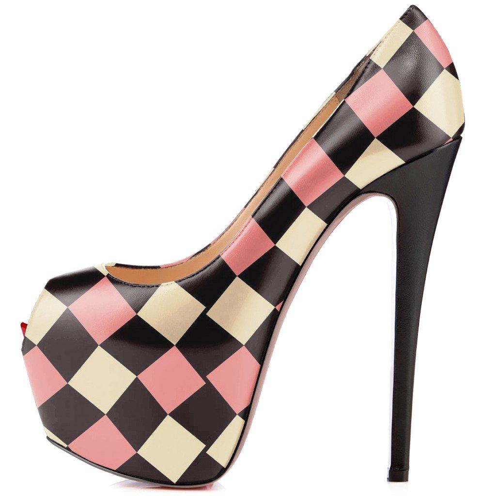 FSJ Women Gorgeous Super High Heels Dress Shoes Multicolored Peep Toe Platform Pumps Size 4-15 US