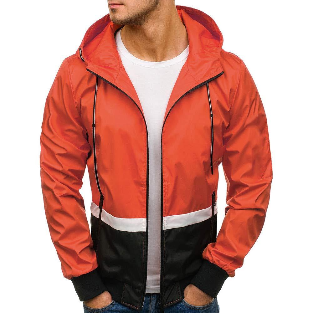 Ankola Hooded Windbreaker Men's Patchwork Sportswear Runner Jacket with Front Zip (M, Orange) by Ankola-Men's Hoodie