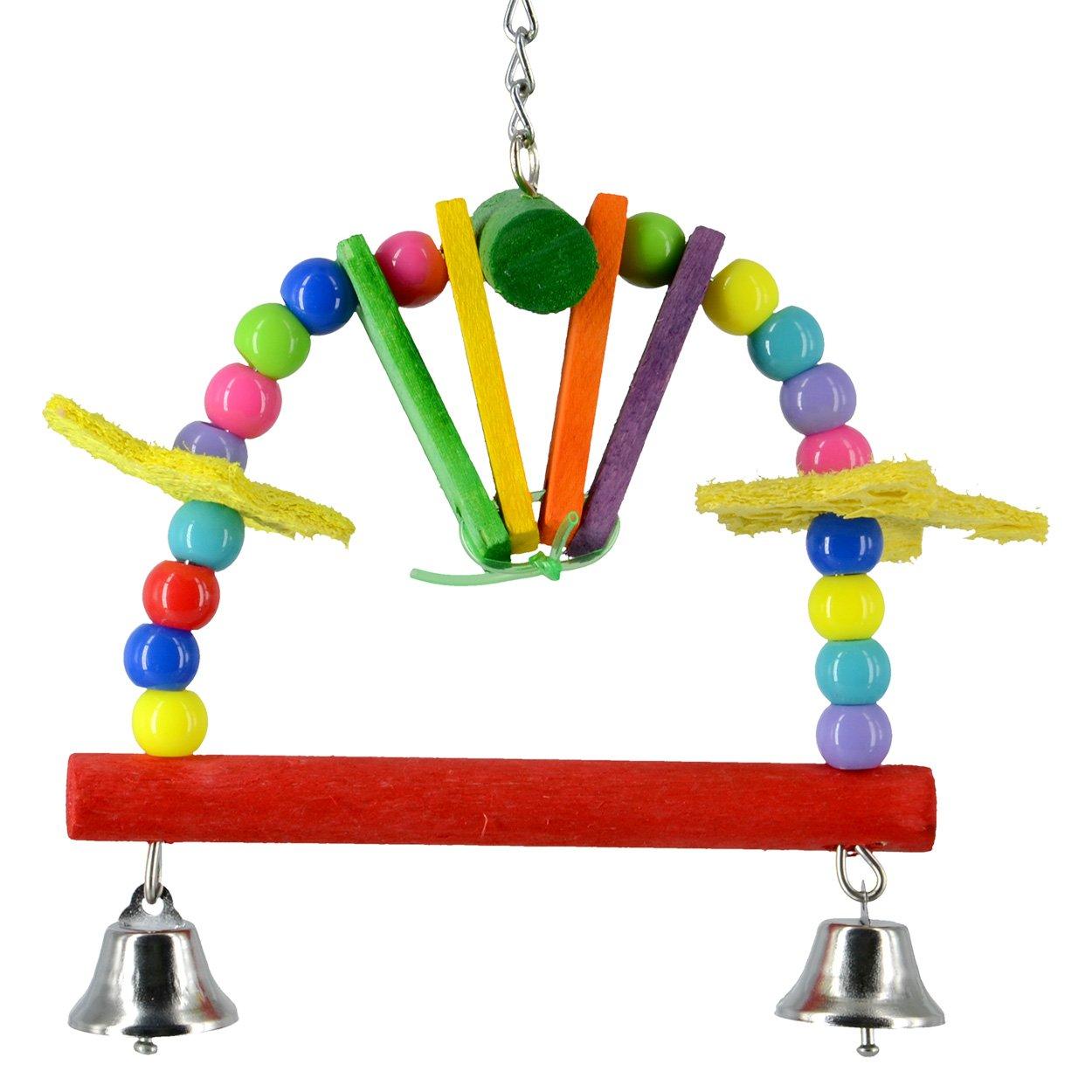 Animal Treasures LBW-0192 Birdie Jingle Rainbow Perch Bird Toys
