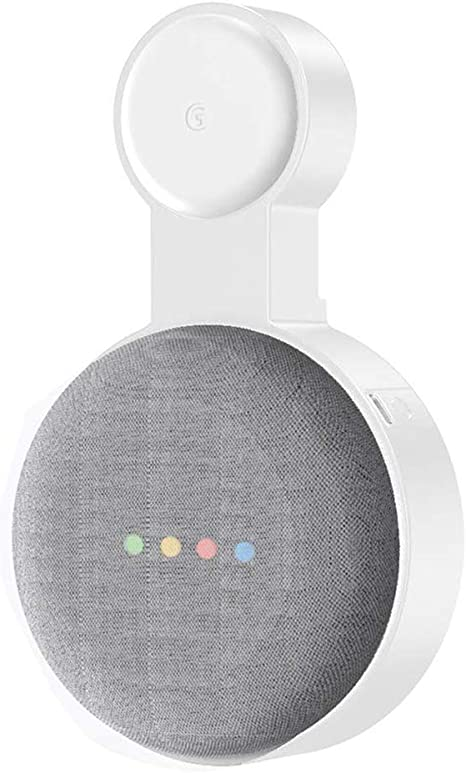 Outlet Wall Mount Holder Stand Hanger for Google Home Mini Assistants White