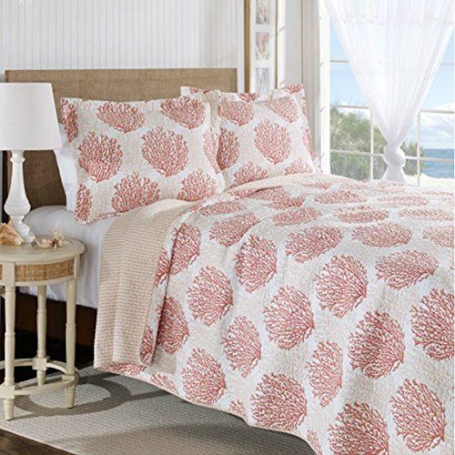 Pink Coral Prints Bedspread Quilt Set For Teens Girls Bedroom - 3 Pieces, Full / Queen Size - Laura Ashley Kids Bedding