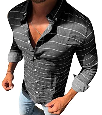 74df46e9958 Vinyst Men Stylish Original Fit Horizontal Stripes Casual Shirts   Amazon.in  Clothing   Accessories
