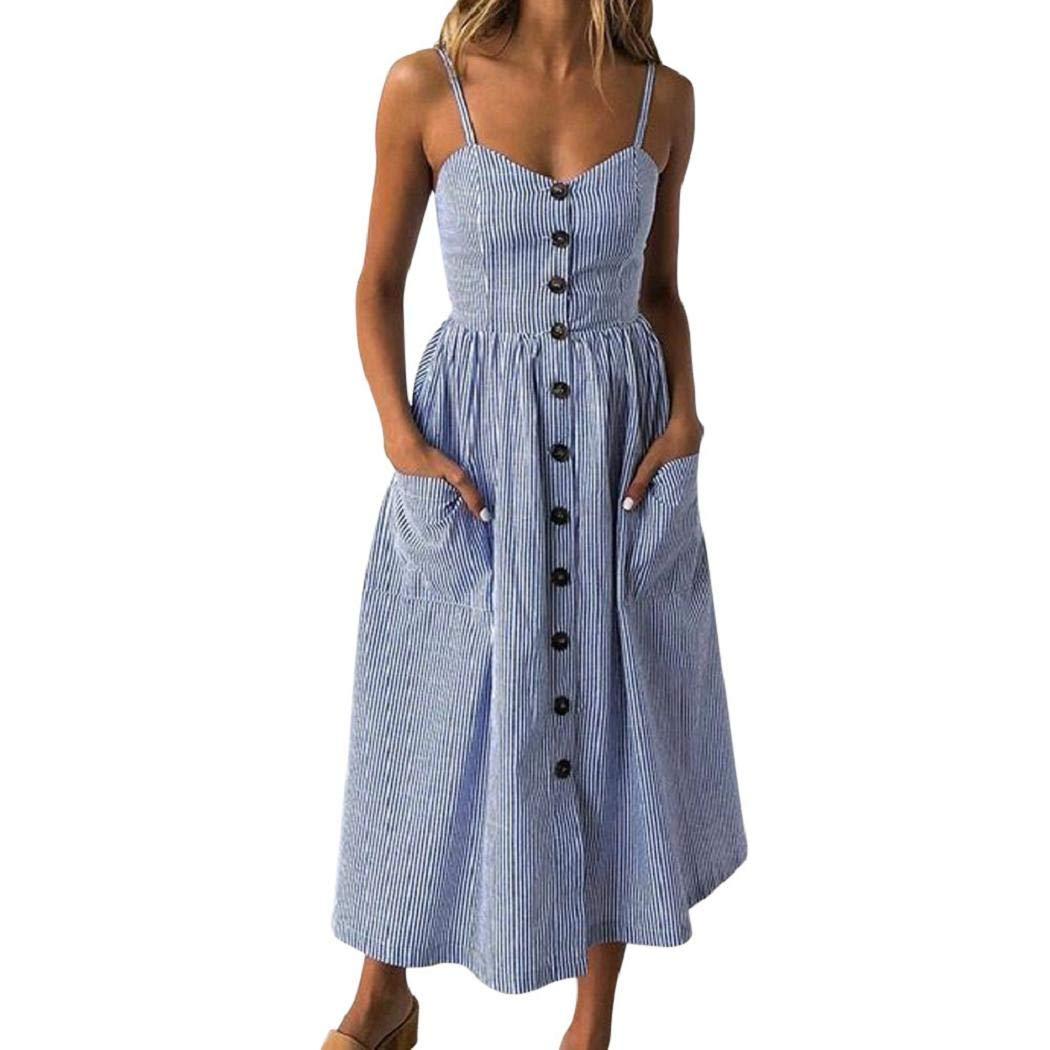 ShenPr Women Sling Dot Printing Buttons Off Shoulder Sleeveless Slim Waist Pocket Princess Dress (01 Blue, M)