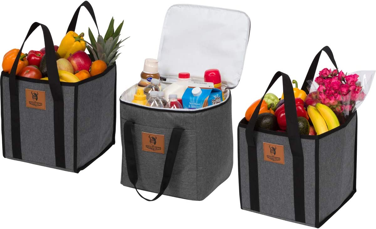 Tuff Viking Large Reusable Grocery Shopping Bags, Easy to Clean, Long Handles, Heavy Duty, Collapsible with Reinforced Sides & Bottom (Set of 3: 2 Grocery Bags 1 Insulated Leakproof Cooler Bag)