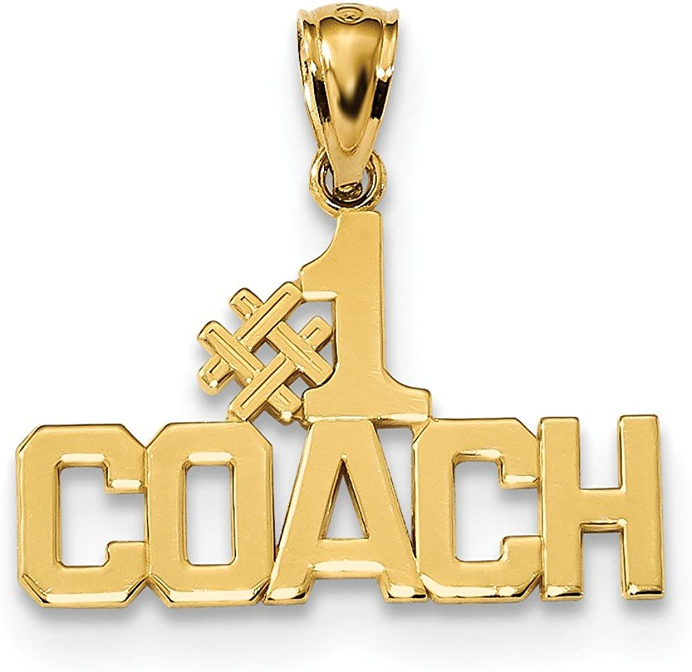 Diamond2Deal 14k Yellow Gold Polished Number1 Coach Pendant