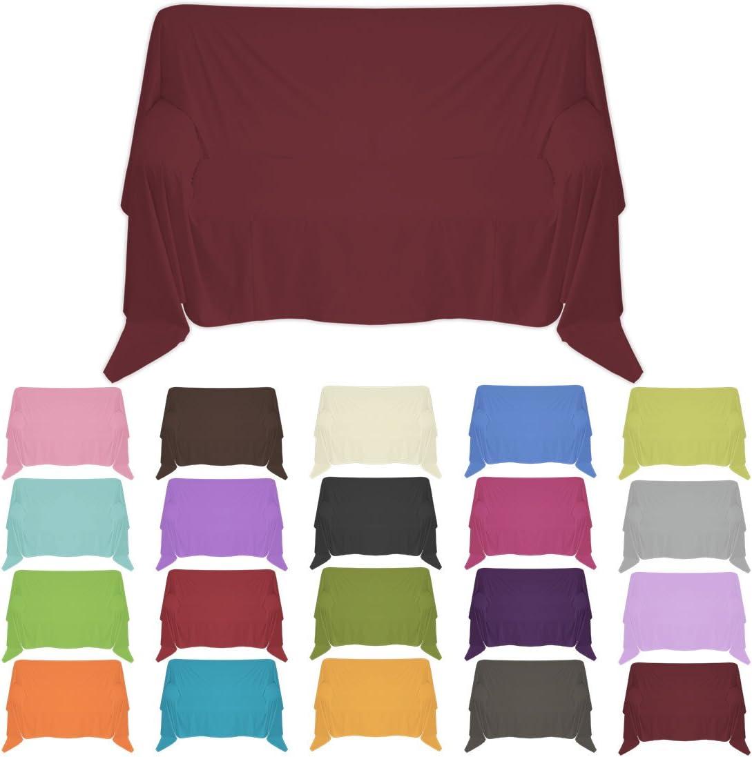 Nurtextil24 Sofa/überwurf in 30 Farben und 4 Gr/ö/ßen /Überwurf aus 100/% Baumwolle Pink 100 x 170 cm