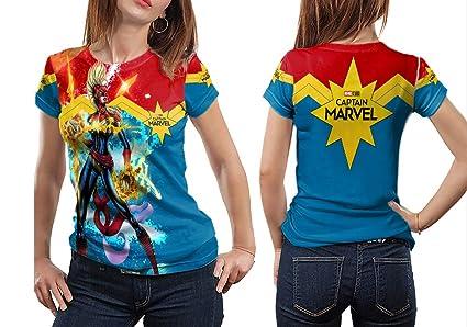 d550c750 Dreamcustom Captain Marvel Art 2 Fans Sublimation Fullprint Women TOP Shirt  Size S - XXXL (