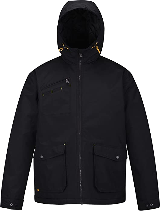 d8258f9e014bd HARD LAND Men s Winter Work Jacket Military Coat Waterproof Insulated Parka  with Hood Size M Black