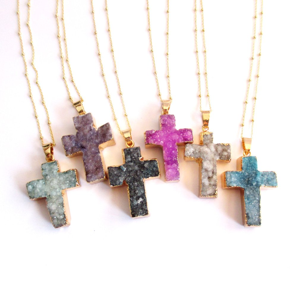 Druzy Agate Cross Pendant Necklace Gold plated Sterling Silver Necklace Chain Purple Druzy Necklace