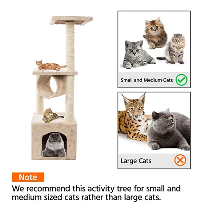 onEveryBaby 36 Solid Cat Tree Cute Sisal Rope Plush Cat Climb Tree Cat Tower Beige