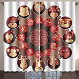 Analisahome chinese zodiac wheel with twelve cartoon animals with corresponding hieroglyphs Bedroom/Living Room/2 Panels